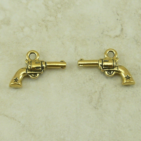 Six Shooter Gun Pistol Charm - Tierra Cast Lead Free 22kt Gold Plated Pewter