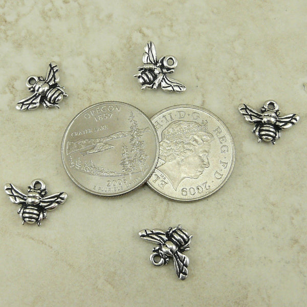 Honey Bumble Bee Charms - Qty 5 Charms - TierraCast Silver Plated LEAD FREE pewter