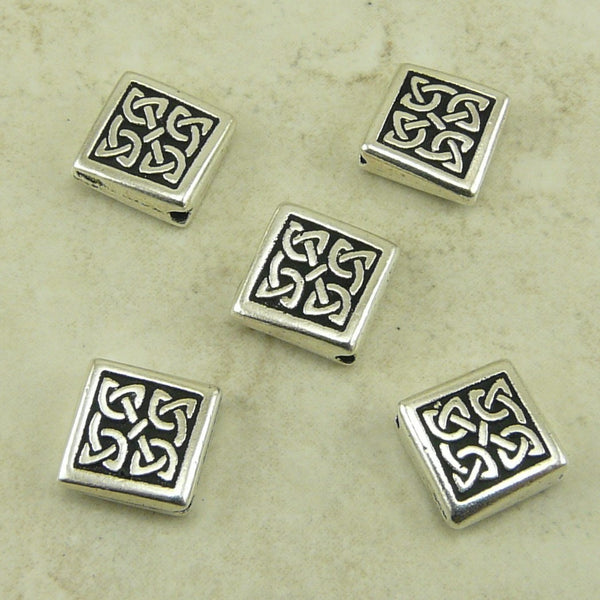 Medium Celtic Diamond Bead - Qty 5 Beads - TierraCast Silver Plated LEAD FREE Pewter