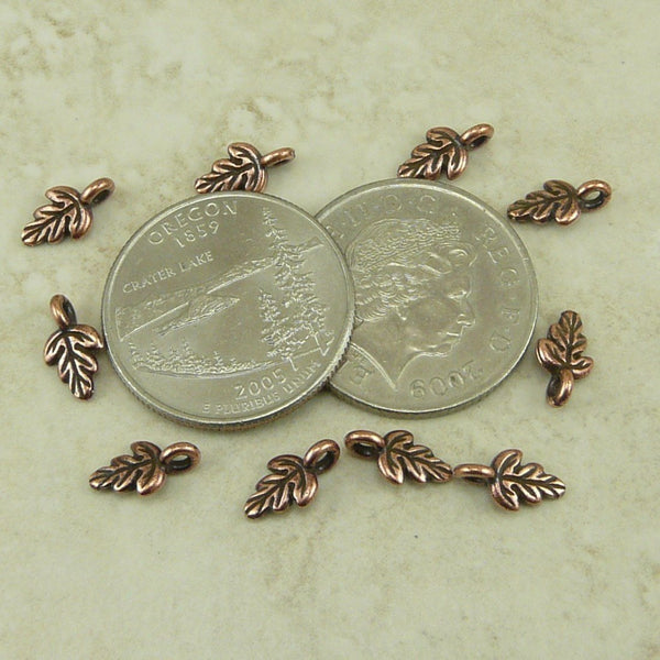 Small Oak Leaf Charms - Qty 10 Charms - TierraCast Copper Plated Lead Free Pewter