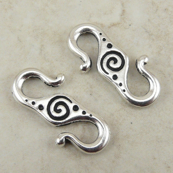 Spiral S Hook Clasp - Qty 2 Clasps - TierraCast Silver Plated LEAD FREE pewter