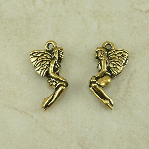 Leaf Fairy Charm Drop - Qty 5 Charms - TierraCast 22kt Gold Plated LEAD FREE Pewter