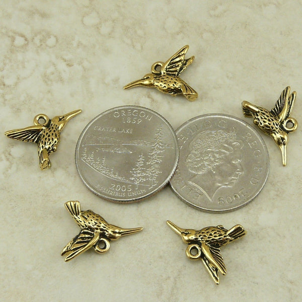 Hummingbird Charms - Qty 5 Chamrs - TierraCast 22kt Gold Plated Lead Free Pewter