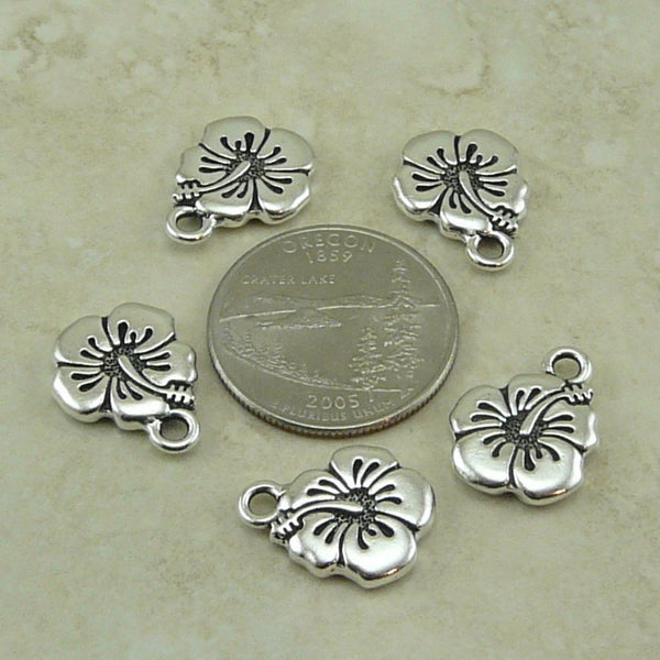 Hibiscus Flower Charms - Qty 5 Charms - TierraCast Silver-plated Lead Free Pewter
