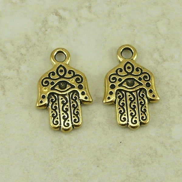 Hamsa Hand Small Charms - Qty 5 Charms - TierraCast 22kt Gold Plated Lead Free Pewter
