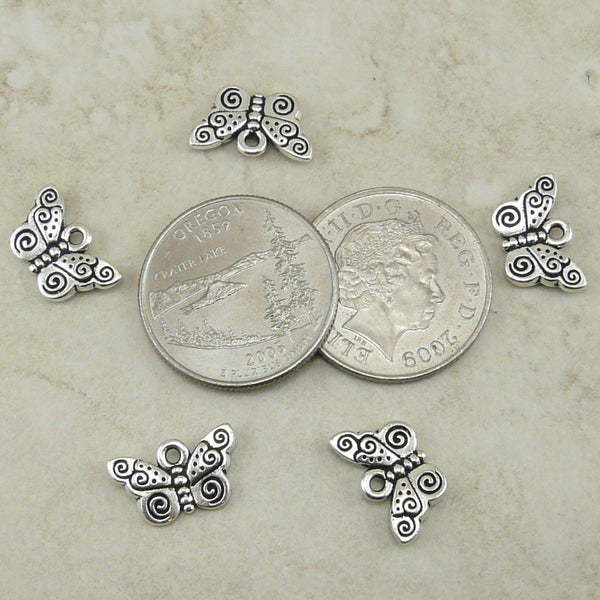 Spiral Butterfly Charms - Qty 5 Charms - TierraCast Silver Plated Lead Free Pewter