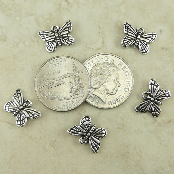 Monarch Butterfly Charms - Qty 5 Charms - Silver Plated lead free pewter