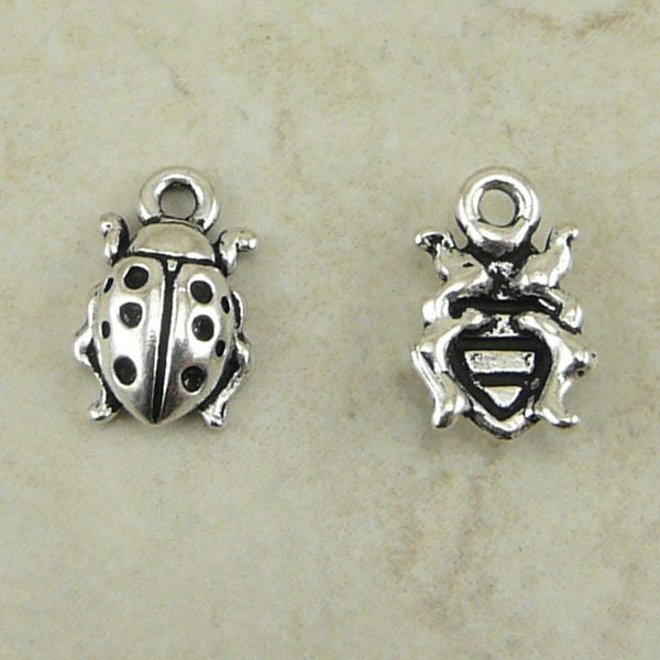 Lady Bug Charms - Qty 5 charms - TierraCast Silver plated Lead Free Pewter
