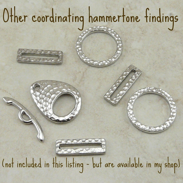 Large Hammertone Ring Links - Qty 5 - TierraCast Rhodium Silver Plated Lead Free Pewter