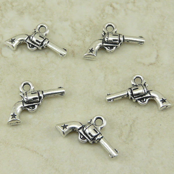 Six Shooter Gun Pistol Charm - Qty 5 Charms - Tierra Cast LEAD FREE Silver Plated Pewter