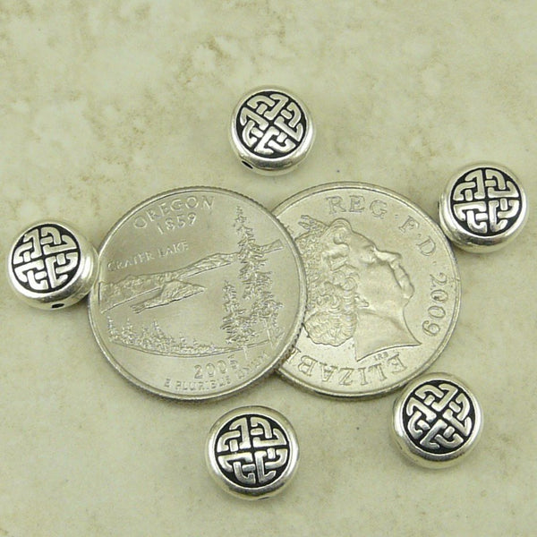 Medium Celtic Circle Beads - Qty 5 - TierraCast Silver Plated LEAD FREE Pewter