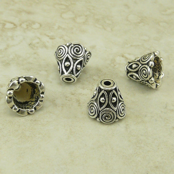 Spiral Cone Bead Caps - Qty 6 Caps - TierraCast Silver Plated LEAD FREE pewter