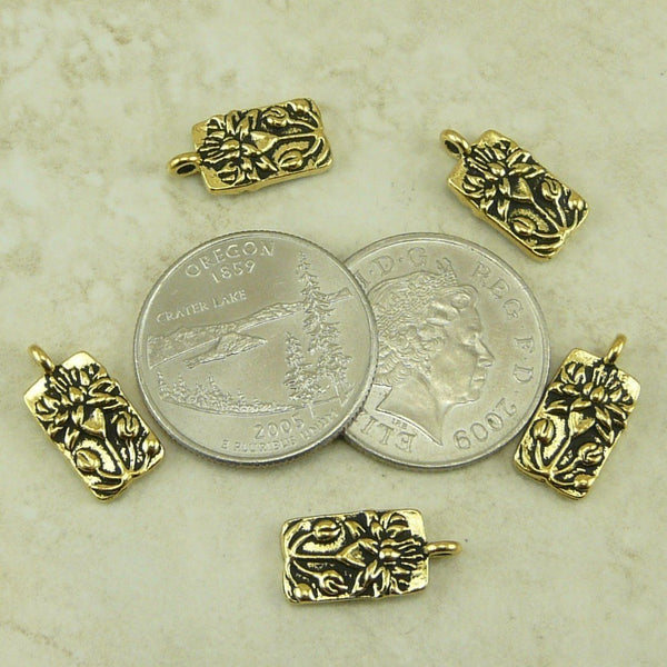 Floating Lotus Flower Charms - Qty 5 Charms -TierraCast Antiqued 22kt Gold Plated Lead Free Pewter
