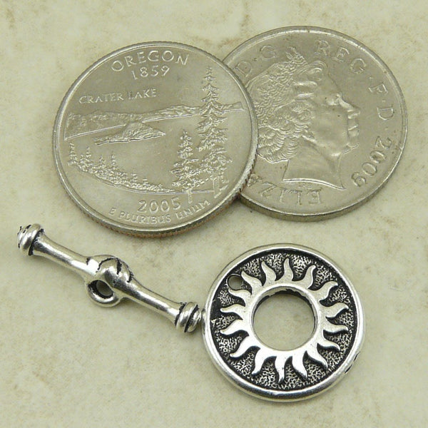Del Sol Sun Toggle Clasp - Qty 1 Clasp - TierraCast Silver Plated LEAD FREE Pewter