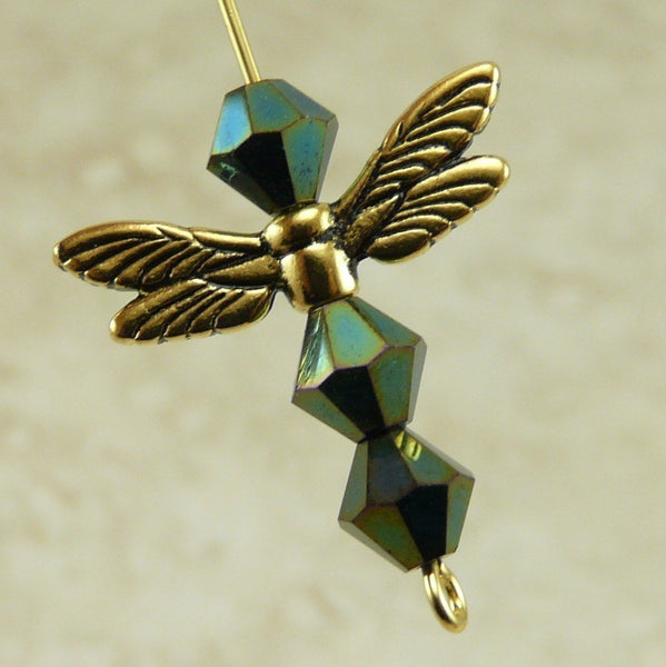 Dragonfly Wing Beads - Tierra Cast 22kt Gold Plated LEAD FREE pewter - 5588-26