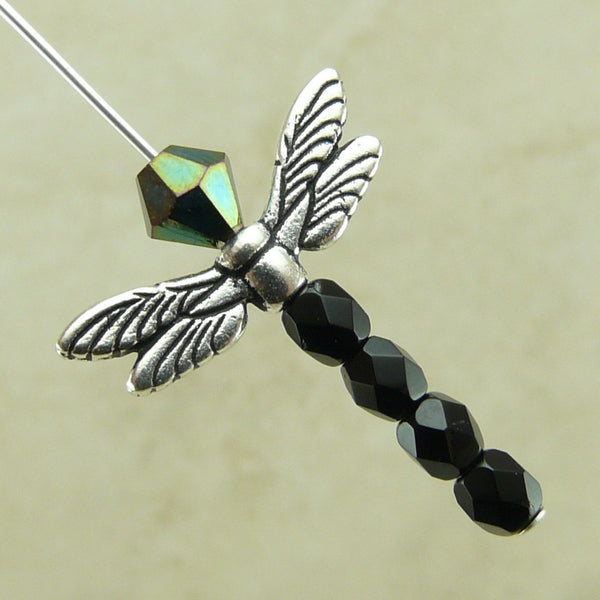 Dragonfly Wing Beads - Qty 5 Beads - TierraCast Silver Plated LEAD FREE Pewter