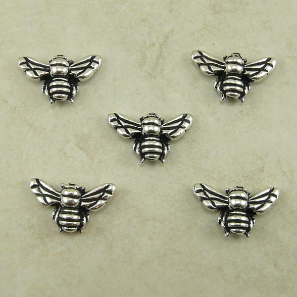 Honey Bee Beads - Qty 5 Beads - TierraCast Fine Silver Plated LEAD FREE pewter