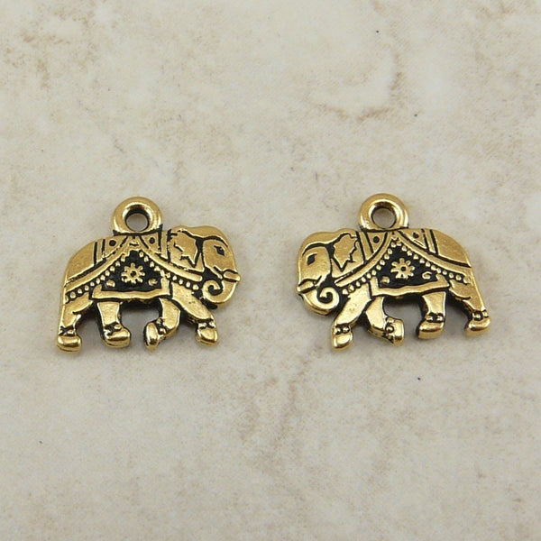 Gita Elephant Charms - Qty 5 Charms - TierraCast 22kt Gold Plated Lead Free Pewter
