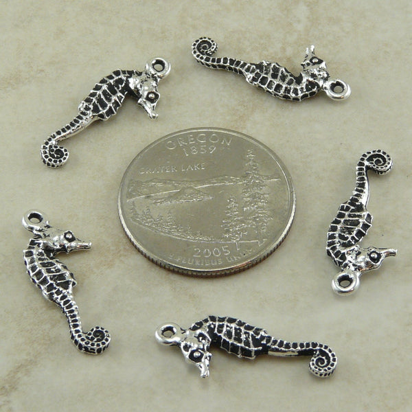 Seahorse Charm - Qty 5 Charms - TierraCast Silver Plated Lead Free Pewter