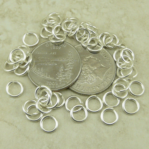 Round Jump Ring 16 Gauge 5mm Inside Diameter - Qty 50 - TierraCast Silver Plated Brass