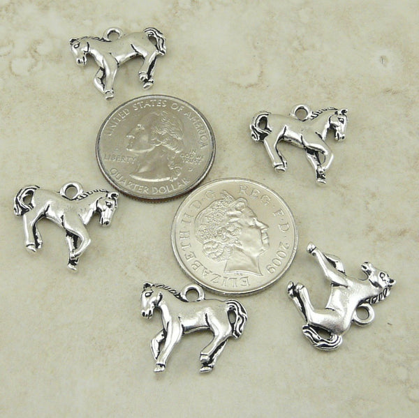 Yearling Horse Charm - Qty 5 Charms - TierraCast Silver Plated Lead Free Pewter