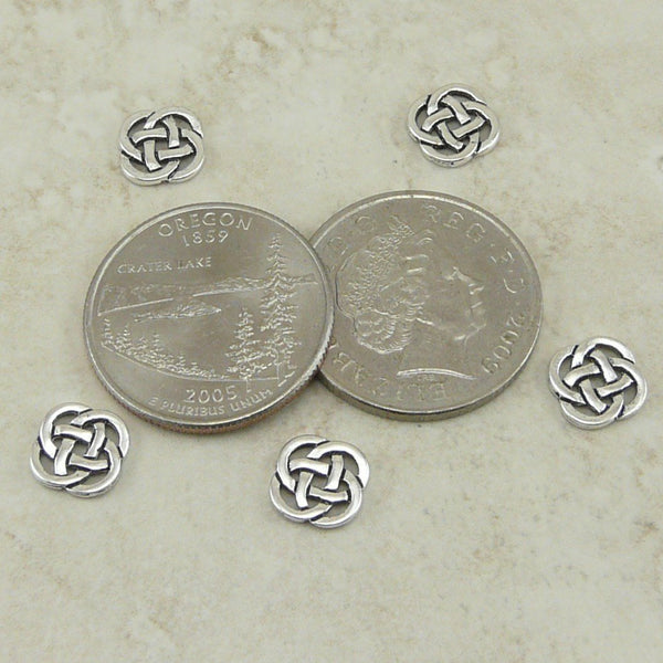 Celtic Round Open Link Charms - Qty 5 Charms - TierraCast Silver Plated Lead Free Pewter