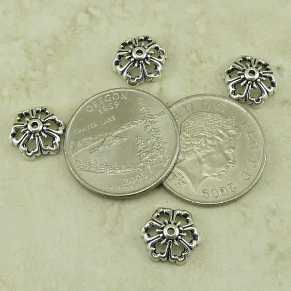 Open Poppy Bead Cap - Qty 6 Caps - TierraCast Silver Plated  LEAD FREE Pewter