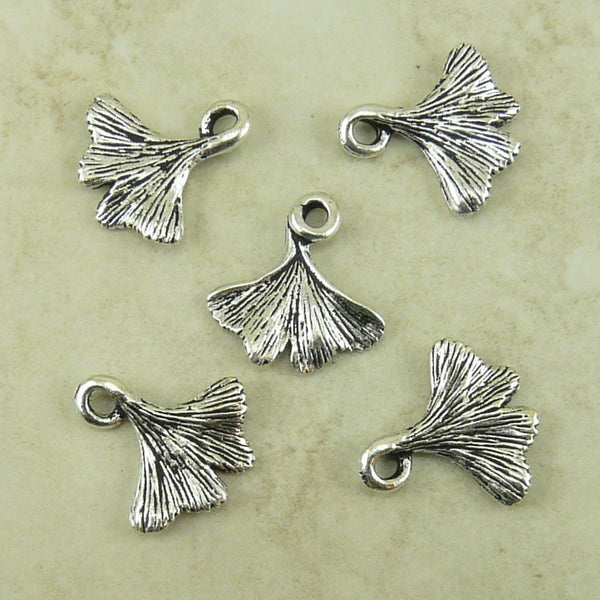 Gingko Leaf Charms - Qty 5 Charms - TierraCast Antiqued Silver Plated Lead Free Pewter