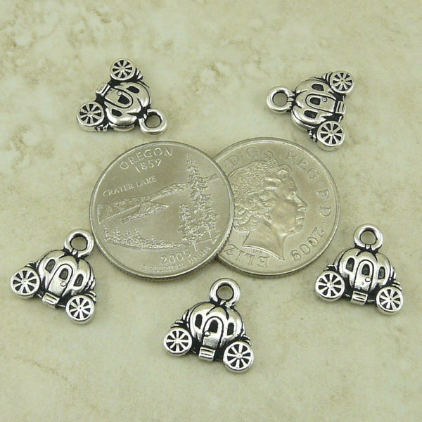 Carriage Charm - TierraCast Silver-plated Lead Free Pewter - I ship Internationally