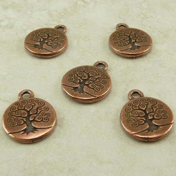 Tree of Life Small Charm - Qty 5 Charms - TierraCast Copper plated Lead Free Pewter
