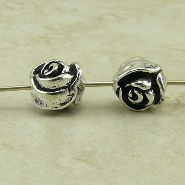 Rose Flower Beads - Qty 5 Beads - TierraCast Antiqued Silver Plated Lead Free Pewter