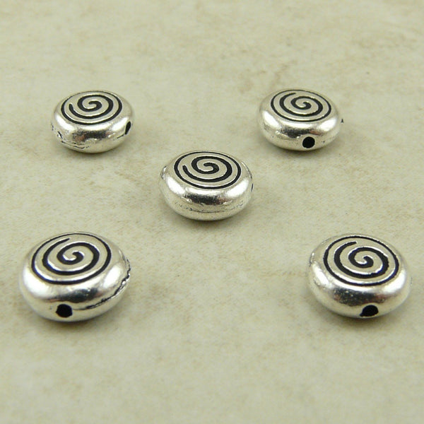Spiral Beads - Qty 5 Beads - TierraCast Silver Plated Lead Free Pewter