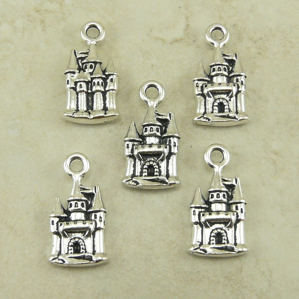 Enchanted Castle Charms - Qty 5 Charms - TierraCast Silver Plated Lead Free Pewter