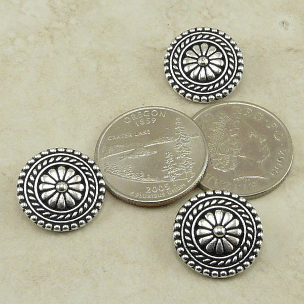 Large Bali Buttons - Qty 3 Buttons - TierraCast Silver Plated LEAD FREE Pewter
