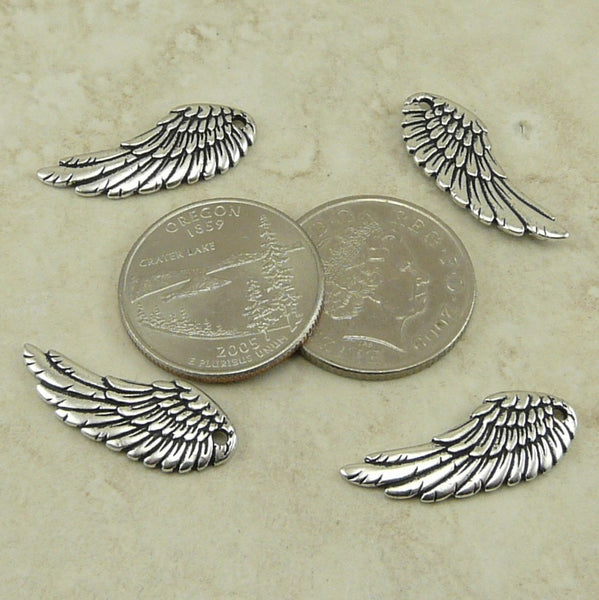 Wing Charms - Qty 4 Charms TierraCast Silver Plated Lead Free Pewter