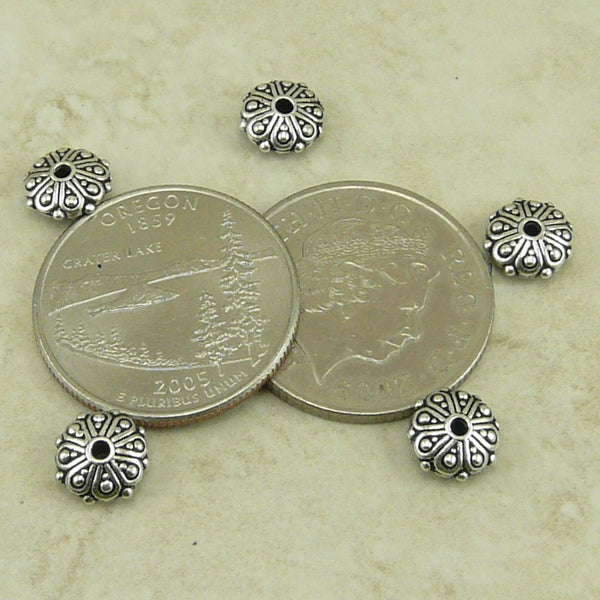 Oasis Rondelle Beads - Qty 5 - TierraCast Fine Silver plated Lead Free Pewter