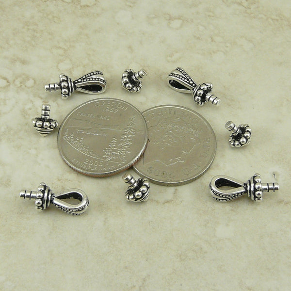 Royal Bail Glue In with Cap - Qty 4 Bail & Cap sets - TierraCast Silver Plated Lead Free Pewter