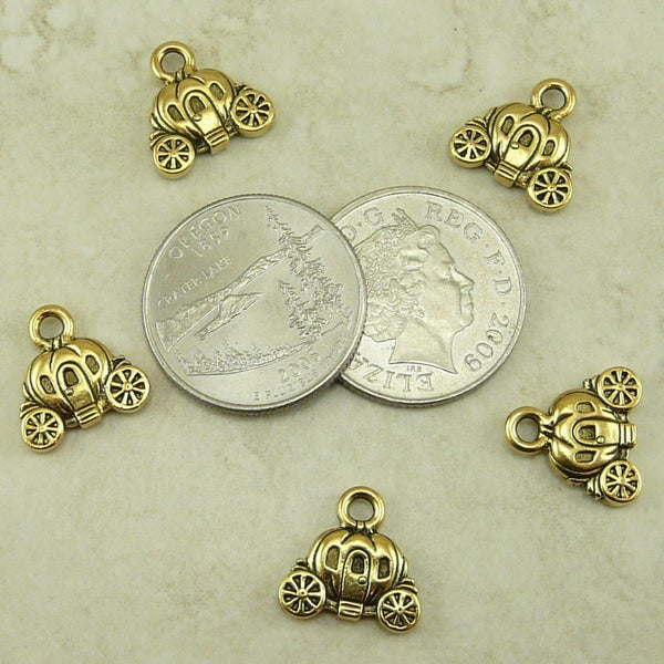 Carriage Charms - Qty 5 Charms - TierraCast 22kt Gold Plated Lead Free Pewter