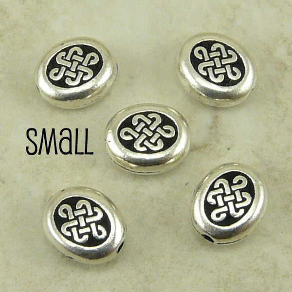 Small Endless Oval Celtic Knot Beads - Qty 5 Beads -TierraCast Silver Plated LEAD FREE Pewter