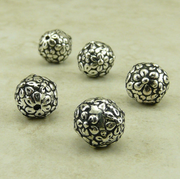 8mm Floral Round Beads - Qty 5 Beads - TierraCast Antiqued Silver Plated Pewter