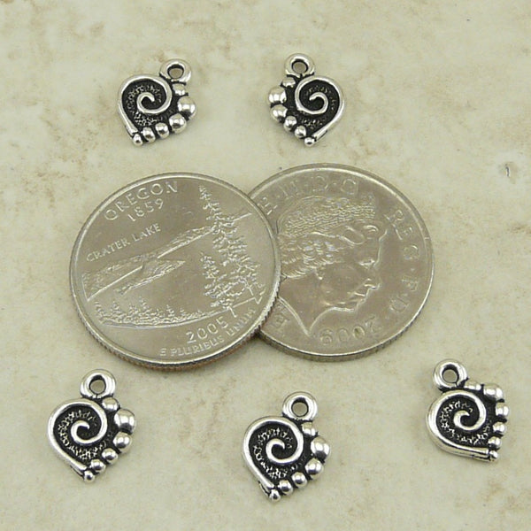 Spiral Heart Charm - Qty 5 Charms - TierraCast SilverPlated Lead Free Pewter