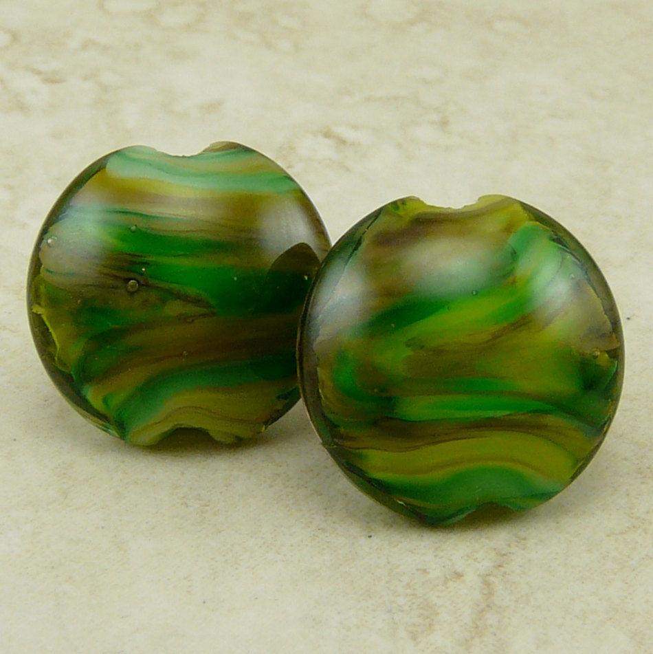 Fern Gully - Lentil Lampwork Bead Pair by Dragynsfyre Designs - SRA