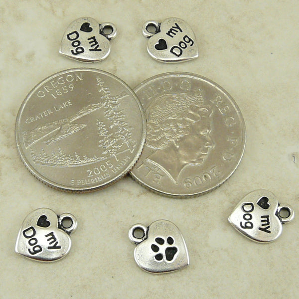 Love My Dog Charm - Qty 5 Charms - TierraCast Silver Plated Lead Free Pewter