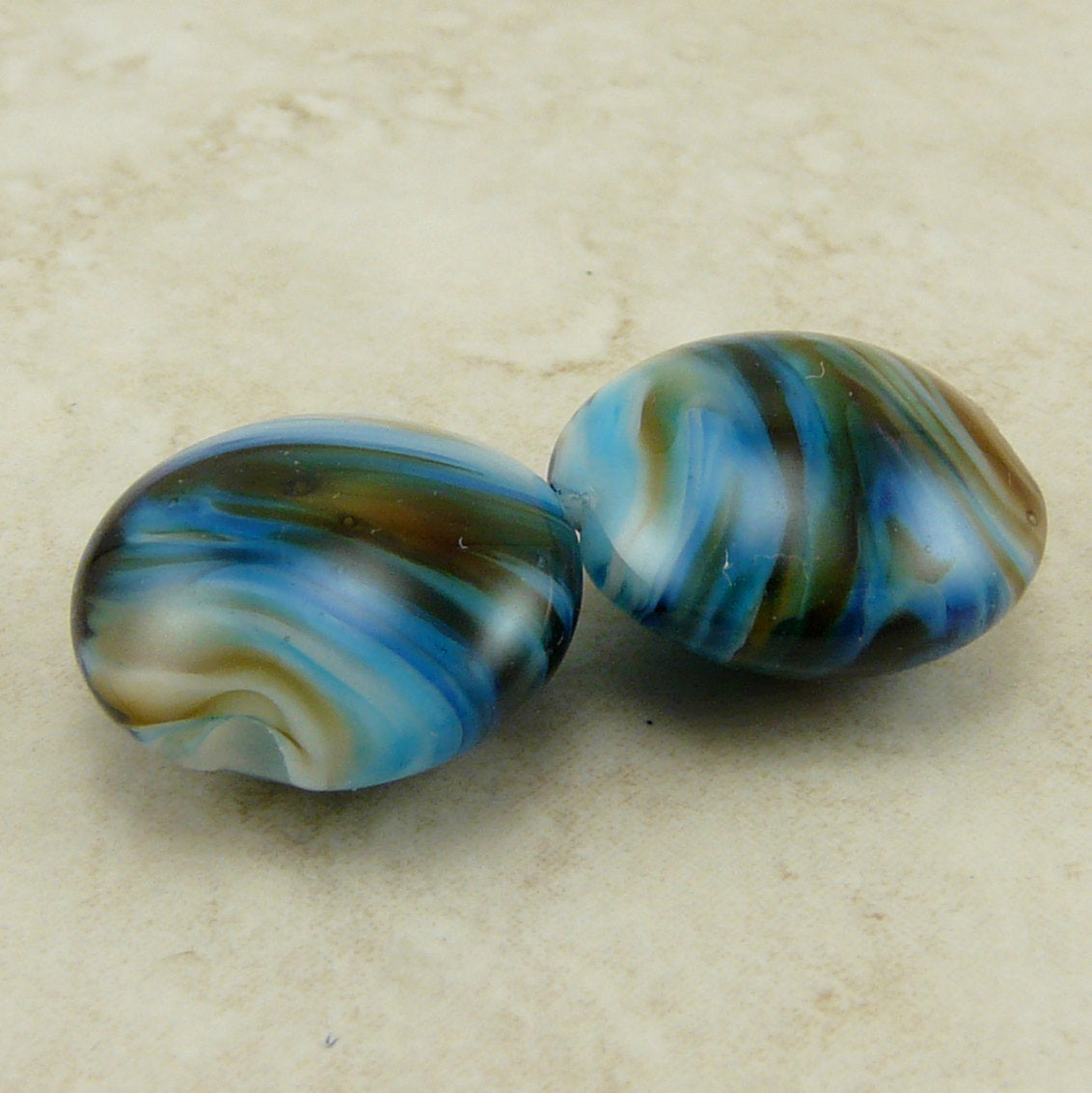 Earth Sea Pair - Lentil Lampwork Bead Pair by Dragynsfyre Designs - SRA