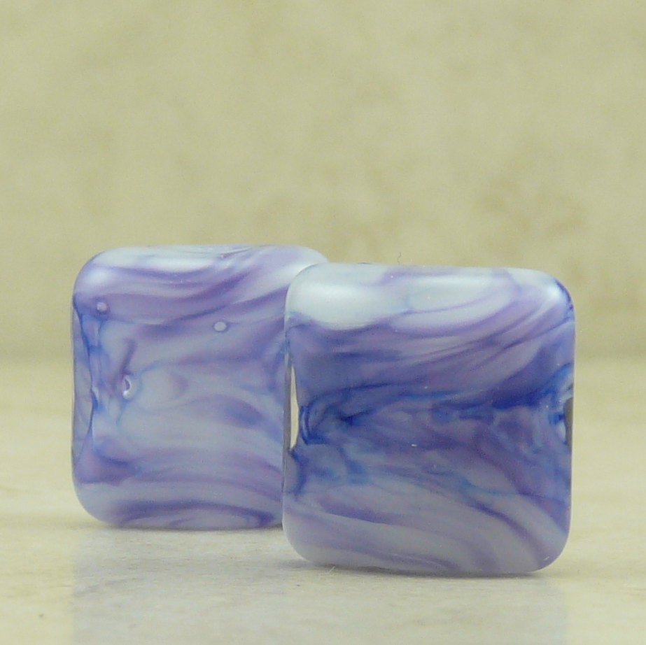 Indigo - Lampwork Bead Nugget Pair by Dragynsfyre Designs- SRA
