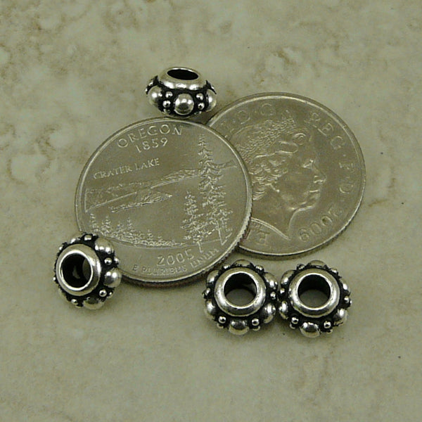 10mm Turkish Euro Bead - Qty 4 Beads - TierraCast Silver Plated Lead Free Pewter