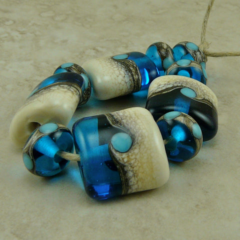 Summer Waves - Lampwork Nuget Bead Set by Dragynsfyre Designs - SRA