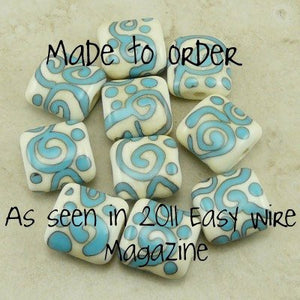 Turquoise on Ivory Zen Doodles - Individual Beads by Dragynsfyre Designs - SRA