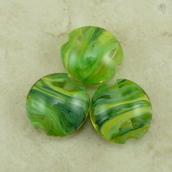Sea Kelp  - Lentil Lampwork Bead Trio by Dragynsfyre Designs - SRA