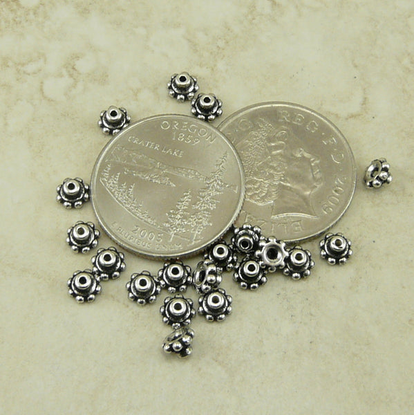 6mm Beaded Daisy Bead Aligner Bead Caps - Qty 20 - TierraCast Silver Plated Lead Free Pewter